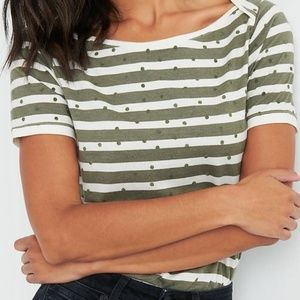 Lucky Brand | NWT green and white striped tee